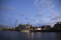 London cityscape across the River Thames with a view of the Shard and Shakespeares Globe, London,. LONDON, UK - MAY 20, 2017. London cityscape across the River royalty free stock photos