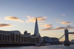 London cityscape across the River Thames with a view of Tower Bridge and the Shard, London, England, UK. LONDON, UK - MAY 20, 2017. London cityscape across the stock images