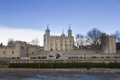 London cityscape across the River Thames with a view of the Tower of London, London, England, UK, May. LONDON, UK - MAY 20, 2017. London cityscape across the stock photography