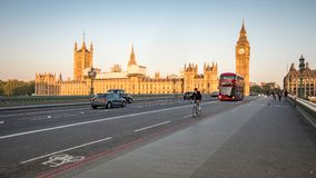 Early morning London: Houses of Parliament, Westminster Bridge royalty free stock photos