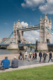 LONDON, UK - MAY 12, 2016: Google Street View Trekker maps the a. Rea around the Southbank and Tower bridge with his 360 degree camera Stock Images