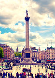 LONDON, UK - MAY 14, 2014:National Gallery and Trafalgar Square and Nelson's monument Royalty Free Stock Photo