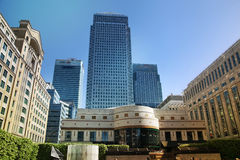 LONDON, UK - MAY 14, 2014: Office buildings modern architecture of Canary Wharf aria the leading centre of global finance Royalty Free Stock Photo