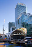 LONDON, UK - MAY 14, 2014: Office buildings modern architecture of Canary Wharf aria the leading centre of global finance Stock Photo