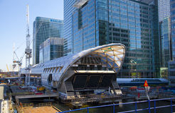 LONDON, UK - MAY 14, 2014: Office buildings modern architecture of Canary Wharf aria the leading centre of global finance Stock Image