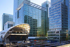 LONDON, UK - MAY 14, 2014: Office buildings modern architecture of Canary Wharf aria the leading centre of global finance Royalty Free Stock Images