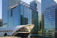 LONDON, UK - MAY 14, 2014: Office buildings modern architecture of Canary Wharf aria the leading centre of global finance. LONDON, UK - MAY 14, 2014: Office Stock Photos
