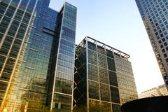 LONDON, UK - MAY 14, 2014: Office buildings modern architecture of Canary Wharf aria the leading centre of global finance Royalty Free Stock Photography