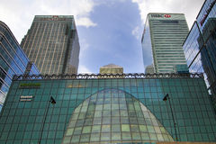 LONDON, UK - MAY 14, 2014: Office buildings modern architecture of Canary Wharf aria the leading centre of global finance. LONDON, UK - MAY 14, 2014: Office Royalty Free Stock Photos