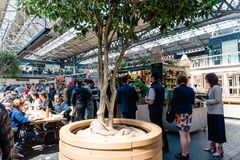 Old Spitalfields Market in London with street food stalls royalty free stock image