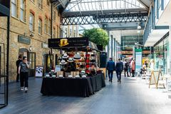 Old Spitalfields Market in London with unidentified people stock image