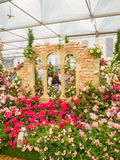 LONDON, UK - MAY 25, 2017: RHS Chelsea Flower Show 2017. Visitors observing variegated roses displays Royalty Free Stock Photography