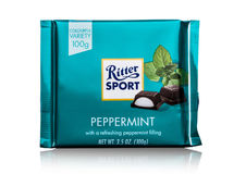LONDON, UK - MAY 15, 2017:  Ritter Sport milk chocolate bar with peppermint on white. Ritter Sport chocolate bar made by Alfred Ri Stock Photography