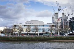 Royal Festival Hall On the Southbank seen from the River Thames, London, England, UK, May 20, 2017. LONDON, UK - MAY 20, 2017. Royal Festival Hall On the stock photos