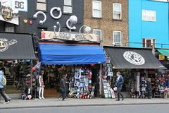 Camden Town shops. LONDON, UK - MAY 15, 2012: Shoppers visit Camden Town borough of London. According to TripAdvisor, Camden Town currently is one of top 10 Royalty Free Stock Photo