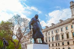 Statue of Winston Churchill at the Parliament Square in London, UK