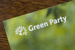 The Green Party. London, UK - May 20th 2019: A close-up of the Green Party logo on an information leaflet.  The Green party is a political party based on the royalty free stock images
