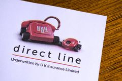 Direct Line Insurance. London, UK - May 14th 2019: The logo of the Direct Line Group plc, pictured on the top of an information leaflet.  Direct Line Group plc stock image