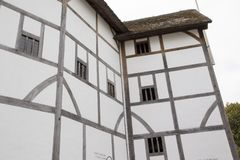 Wooden beams and structure of the Shakespeares Globe Theatre, London, England, UK, May 20, 2017 royalty free stock photo