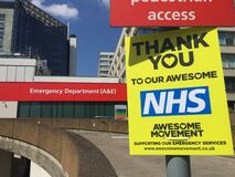 NHS Guys & St. Thomas Hospital London, during coronavirus lockdown thank you sign outside emergency ER department