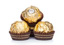 Free LONDON, UK - NOVEMBER 08, 2018: Ferrero Rocher Premium Chocolate Sweets On White Background With Reflection. Luxury Chocolate With Royalty Free Stock Photo - 130958845
