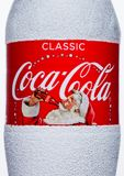 LONDON, UK - November 17, 2017: Bottle label of Classic Coca-Cola on White. Coca-Cola is one of the most popular soda products in Stock Photo