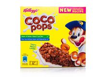 LONDON, UK - November 17, 2017: Box of Kellogg`s Coco Pops Breakfast Cereal Bar on white, Frosties are a popular breakfast cereal. LONDON, UK - November 17, 2017 Stock Photo