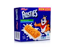 LONDON, UK - November 17, 2017: Box of Kellogg`s Frosties Breakfast Cereal Bar on white, Frosties are a popular breakfast cereal. LONDON, UK - November 17, 2017 Stock Image