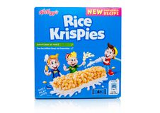 LONDON, UK - November 17, 2017: Box of Kellogg`s Rice Crispies Breakfast Cereal Bar on white, Rice Crispies are a popular breakfa. LONDON, UK - November 17, 2017 Stock Photos