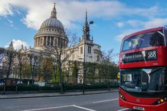 Close up red London bus 388 stop at St. Paul Cathedral Royalty Free Stock Image