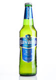 LONDON, UK - NOVEMBER 05 , 2016.Cold  bottle of Bavaria Premium Beer, on white background. Bavaria is the second largest brewery i Royalty Free Stock Image
