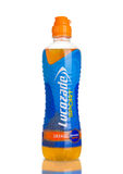 LONDON, UK - NOVEMBER 11, 2016: Cold bottle of Lucozade Sport energy drink with orange flavour on white background Royalty Free Stock Photo