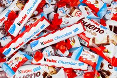 LONDON, UK - November 17, 2017: Kinder chocolate different mix on white.Kinder bars are produced by Ferrero founded in 1946. LONDON, UK - November 17, 2017 stock photo