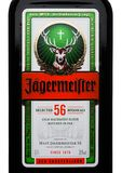 LONDON, UK - NOVEMBER 03, 2017: Label of Jagermeister on white. German digestif made with 56 herbs and spices. LONDON, UK - NOVEMBER 03, 2017: Label of royalty free stock image
