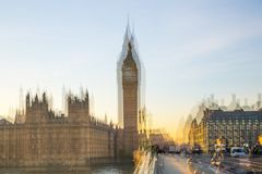 Multiple exposure image of beautiful morning on the Westminster bridge with blur of walking people. View include Big Ben and House Royalty Free Stock Photo