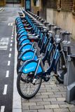 Barclays Cycle Hire  Boris Bikes at docking station in London UK Royalty Free Stock Photo