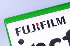 The Fujifilm company logo. London, UK - November 14th 2018: The Fujifilm company logo, pictured on product packaging. Fujifilm Holdings Corporation are a stock photo