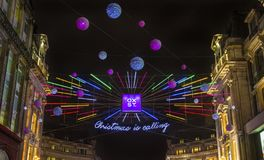 Christmas Lights on Oxford Street in London stock image
