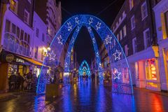 Christmas Lights in London. London, UK - November 19th 2018: A view of the festive Christmas lights on South Molton Street in central London stock photos