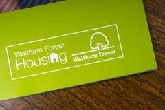 The Waltham Forest Housing logo. London, UK - November 14th 2018: The Waltham Forest Housing logo - the Housing department of the Borough of Waltham Forest in royalty free stock image
