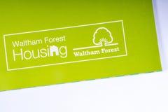The Waltham Forest Housing logo. London, UK - November 14th 2018: The Waltham Forest Housing logo - the Housing department of the Borough of Waltham Forest in stock photography