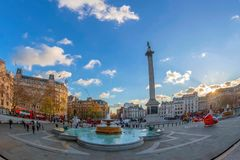 Trafalgar Square wiyh emergency medical helicopters. London, UK Royalty Free Stock Photo