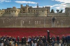 London, UK - October 18, 2014: Art installation 'Blood Swept Lan Stock Images
