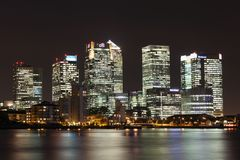 Canary Wharf at night Stock Images