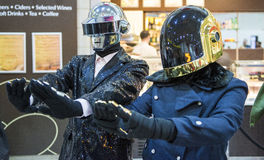 LONDON, UK - OCTOBER 26: Cosplayers dressed as the musical duo f. Rom Daftpunk in the Comicon at the Excel Centre's MCM Expo. October 26, 2013 in London Stock Photo