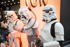 LONDON, UK - OCTOBER 26: Cosplayers dressed as Storm Troopers fr. Om Star Wars for the Comicon at the Excel Centre's MCM Expo. October 26, 2013 in London Stock Images