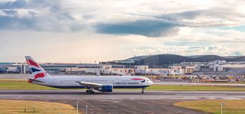 British Airways on Taxiway. LONDON, UK - October 1, 2016: Heathrow Airport is the second busiest airport in the world by international passenger traffic, as well stock photos