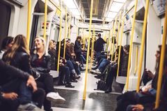 LONDON, UK - OCTOBER, 15, 2016: Inside view of a subway car in L Stock Photos
