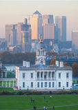 London, UK - October 31, 2015: Panorama of Canary Wharf in evening. View from the Greenwich Stock Image