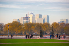 London, UK - October 31, 2015: Panorama of Canary Wharf in evening. View from the Greenwich. Side stock photo